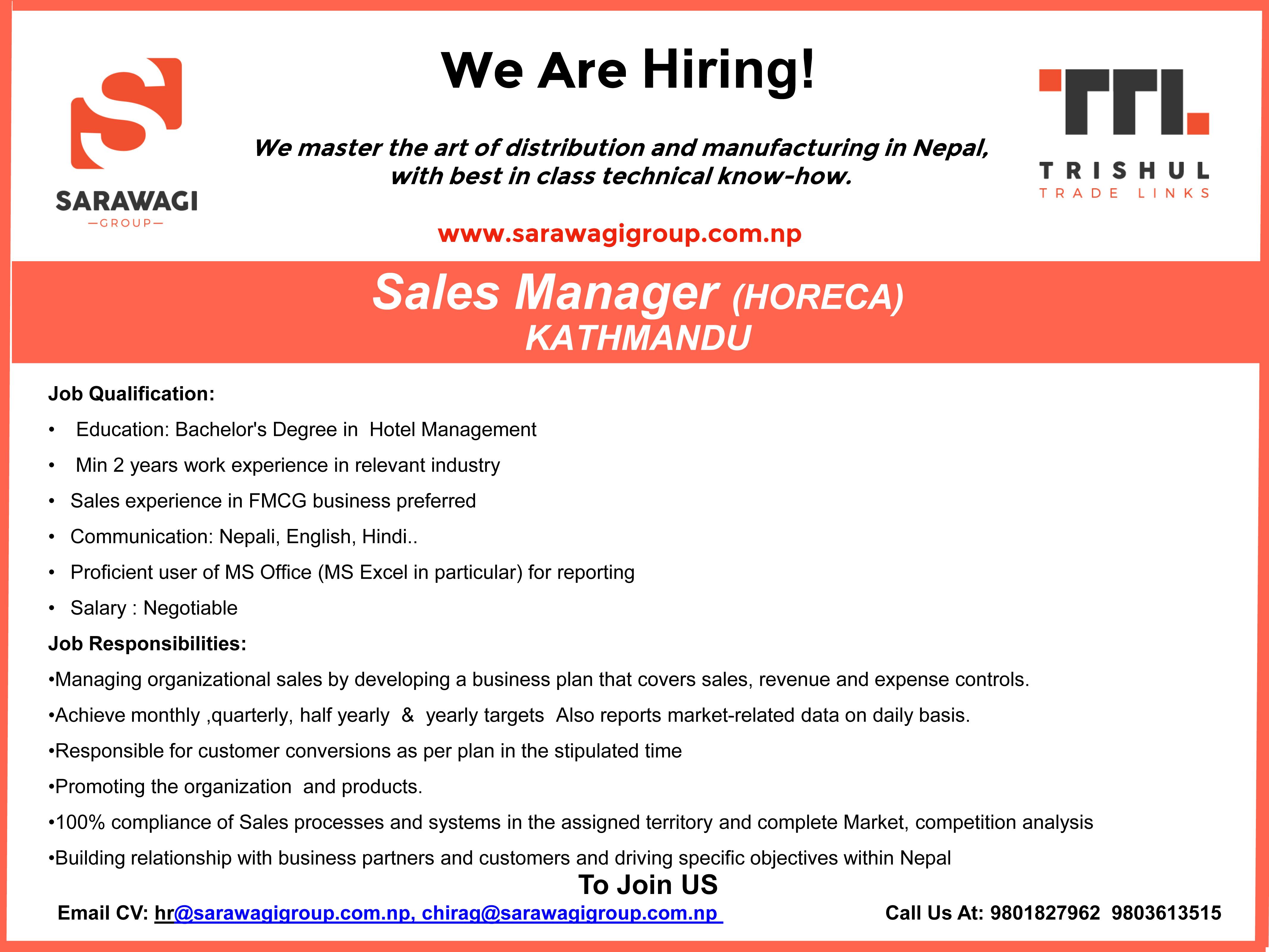 Sales Manager (HORECA) Image