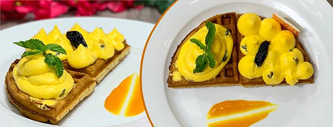 Mango Mousse & Raisin Waffle Image